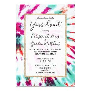 Summer Artsy Girly Neon Teal Pink Tie Dye Pattern Invitation