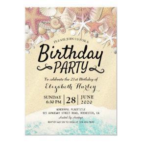 Summer Beach Birthday Party Starfish Sea shells Invitation