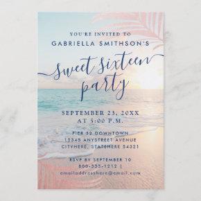 Summer Beach Pink Sunset Tropical 16th Birthday Invitation