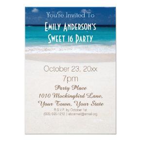 Summer Beach Theme Blue Sweet 16 Birthday Card