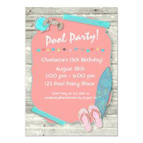 Summer Beach Themed Party Invitations