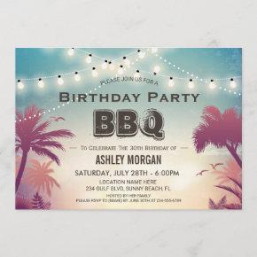 Summer Birthday BBQ Party Palm Tree String Lights Invitation