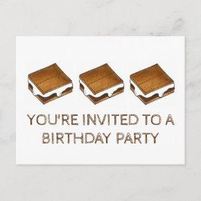 Summer Camp Fire S'mores Birthday Party Invitation