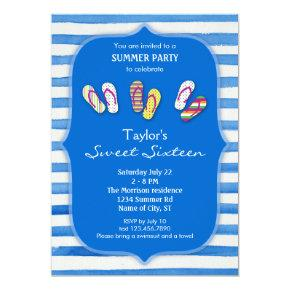 Summer Flip Flops Sweet Sixteen Invitations