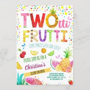 Summer Fruits 2nd Girl Birthday Twotti Frutti Cute Invitation