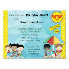 Summer Fun Birthday Invitations