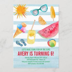 Summer Fun in the Sun Birthday Party Invitation