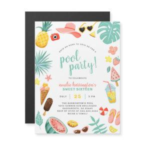 Summer Fun Pool Party Birthday Party Magnetic Invitation