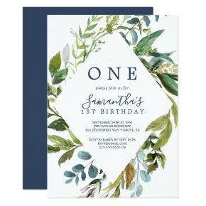 Summer Greenery Diamond Wreath First Birthday Invitation