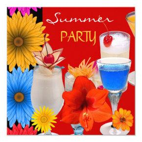 Summer Party Cocktails Drinks Red Blue Yellow Invitations