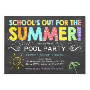 Summer Party Pool Party Schools Out Invitations