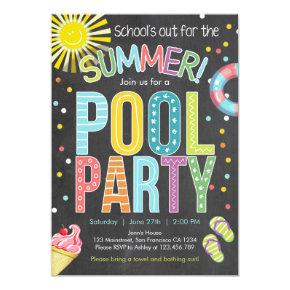 Summer Party Pool Party Schools Out Invitation