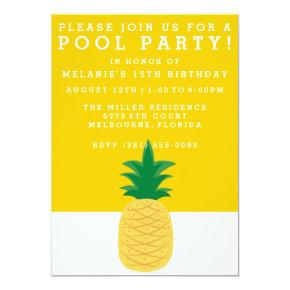 Summer Pineapple Pool Party Invitation