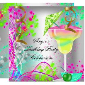 Summer Pink Birthday Party Colorful Cocktail Invitation