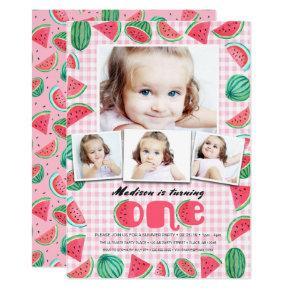 Summer Pink & Green First Birthday Watermelon Invitation