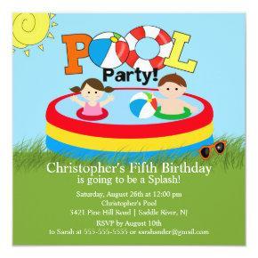 Summer POOL Party Birthday Invitations Boy Girl