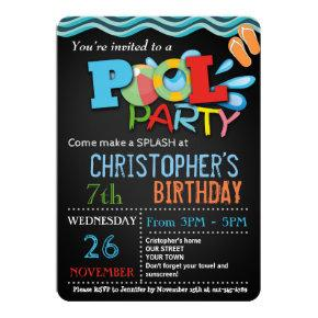 SUMMER POOL PARTY Invitations | POOL BIRTHDAY PARTY