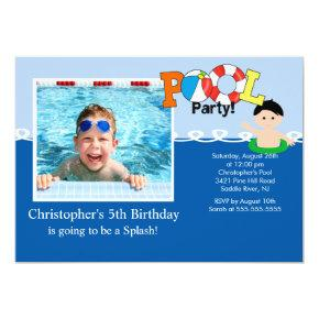 Summer POOL Party PHOTO Birthday Invitation
