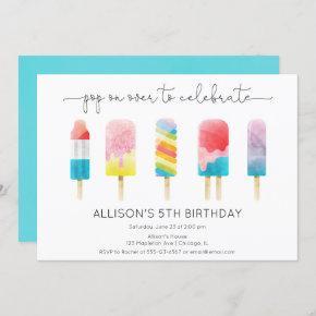 Summer popsicle ice cream birthday party invitation