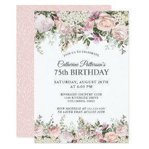 Summer Rose Garden Floral 75th Birthday Party Invitation