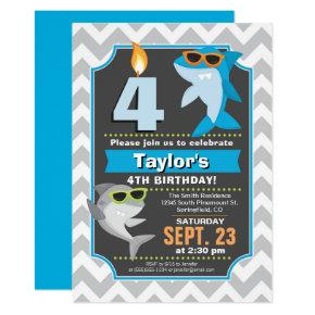 Summer Shark Birthday Invitation