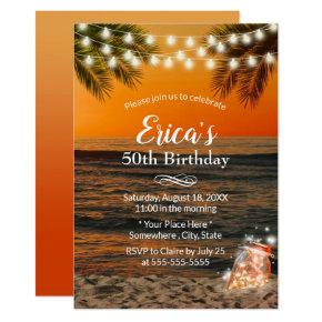 Summer Sunset Beach Glow Mason Jar 50th Birthday Invitation