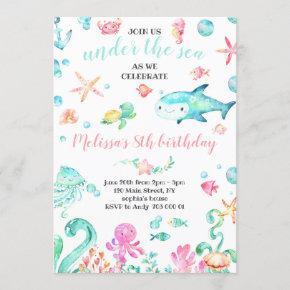 Summer Under the Sea Watercolor Girl Birthday Invitation