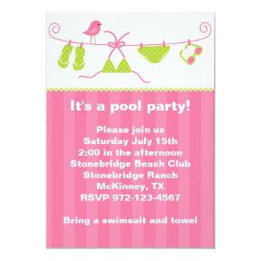 Summertime Pink and Green Bathing Suit Invitations