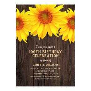 Sunflower 100th Birthday Party Rustic Wood Card
