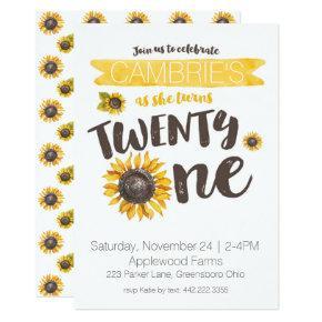 Sunflower 21st Birthday Invitation