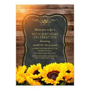 Sunflower 90th Birthday Party Rustic Fall Invitation