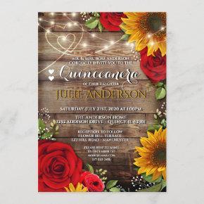 Sunflower and Rose Rustic Quinceanera Invitation