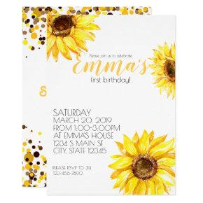 Yellow Summer Flowers Sunflower Birthday Invitations Candied Clouds