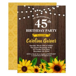 Sunflower birthday invitation. Any age rustic wood Invitation