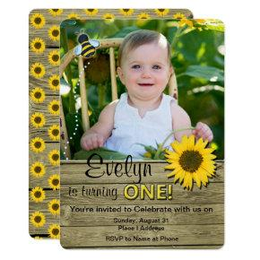 Sunflower Birthday Photo Invitations Invitation
