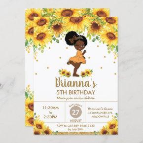 Sunflower Cute African American Girl Birthday Invitation
