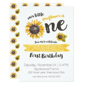 Sunflower First Birthday Invitations