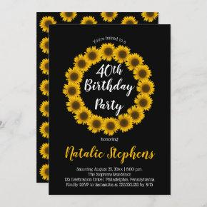 Sunflower Floral Wreath Birthday Party Invitation
