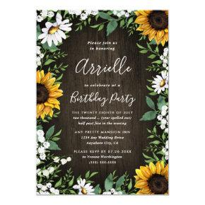 Sunflower Rustic Country Wood Boho Birthday Party Invitation