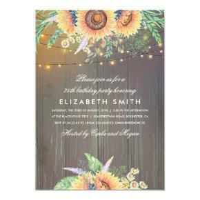Sunflower Rustic String Lights Wood Birthday Party Invitation