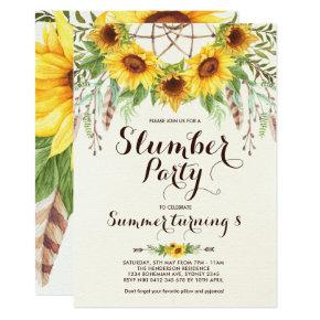 Sunflower Slumber Party Boho Sleepover Birthday Invitation