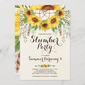 Sunflower Slumber Party Boho Sleepover Birthday Invitation