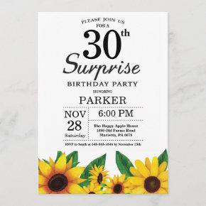 Sunflower Surprise 30th Birthday Invitation