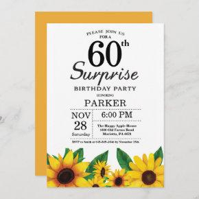 Sunflower Surprise 60th Birthday Invitation