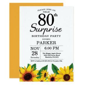 Sunflower Surprise 80th Birthday Invitation