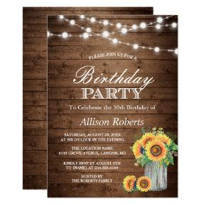 Sunflowers Birthday Party Rustic String Lights Invitation