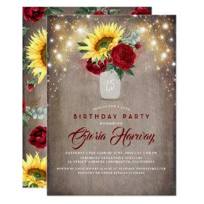 Sunflowers Burgundy Red Roses Rustic Fall Birthday Invitation