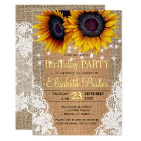 Sunflowers burlap and lace autumn birthday party invitation
