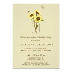 Sunflowers on Mason Jar Birthday Party Invitation