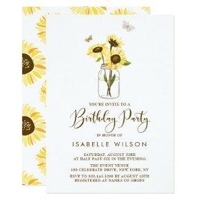 Sunflowers on Mason Jar Summer Birthday Party Invitation